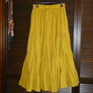 Long Golden Gypsy Boho Maxi Skirt, Full, M, NWOT